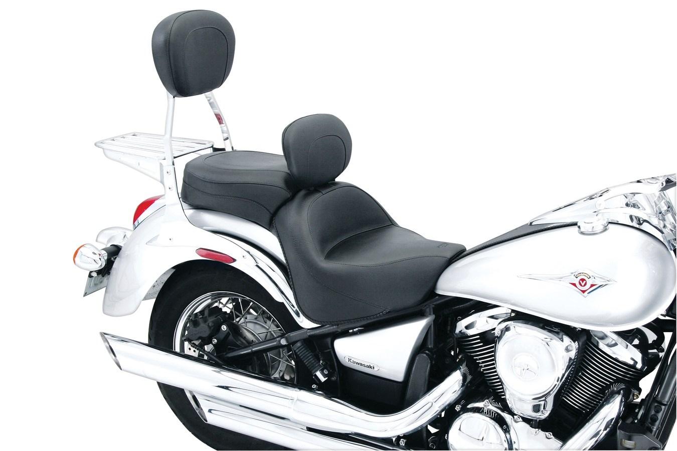 Mustang 76127 Standard Touring One-Piece 2-Up Motorcycle Seat for Kawasaki Vulcan 900 2006-18 Black